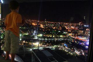 Sm Sam admiring view ANZ tower NYE 2010