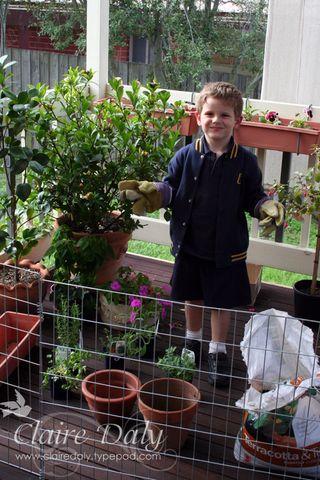 Sam gardening