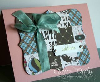 Patchwork top note card stampin up
