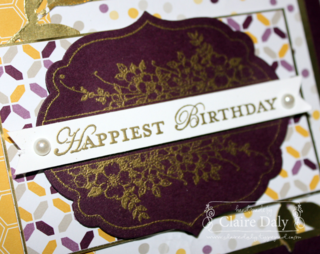 Stampin' Up! Blackberry Bliss, Moonlight DSP and Apothecary Art for SB90. By Claire Daly Stampin' Up! Demonstrator Melbourne Australia at www.clairedaly.typepad.com