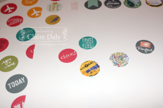 Make your own Project Life flair buttons using Stampin' Up! My Digital Studio software (free 30 day trial) by Claire Daly Melbourne Australia at www.clairedaly.typepad.com