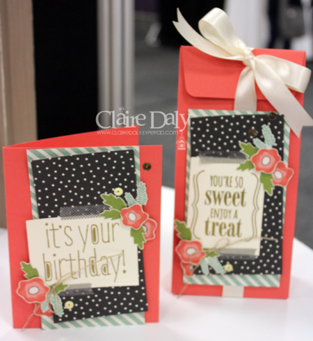 Pictures from dislay boards (not created by me) at 2015 Stampin' Up! South Pacific Convention showing sneak peeks of 2015 / 16 Stampin' Up! Catalogue Products.