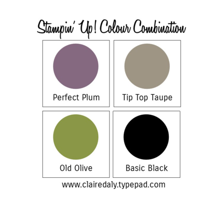 Stampin Up Color Colour Combination Tip Top Taupe, Old Olive, Basic Black, Perfect Plum.
