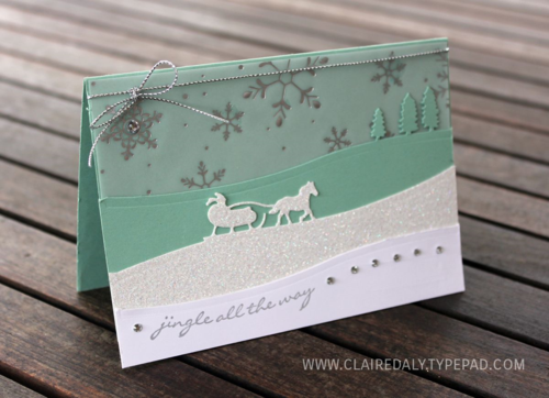 Stampin Up handmade / diy Cristmas card using Sleigh ride edgelits and Jingle all the way Stamp set. Cased from Amy Koenders :)