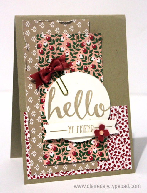 Stampin' Up! Hello card using the 2016 aleabration Hello Stamp set, Love Blossoms DSP and Love Blossoms Embellishment Kit. Card by Claire Daly , SU Demonstrator Melbourne Australia