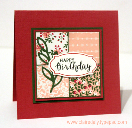 Love Blossoms DSP, Rose Wonder / Rose Garden stamp set and thinlets by Stampin Up. Birthday card by Claire Daly SU Demo, Melbourne Australia.