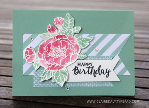 Stampin Up Birthday Blooms watercoloured birthday card by Claire Daly Stampin Up Demonstrator Melbourne Australia www.clairedaly.typepad.com