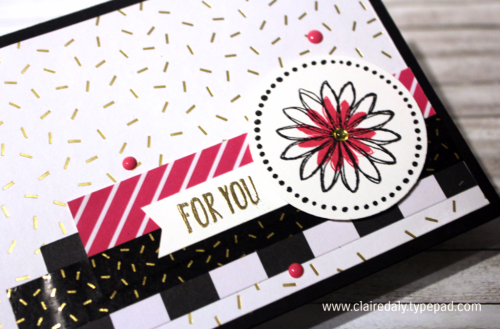 Stampin Up For You card with Pop of Pink DSP and Washi Tape, Perfectly Wrapped Stamp Set from Annual Catalogue 2016. Card by Claire Daly Stampin Up Demonstrator Melbourne Australia