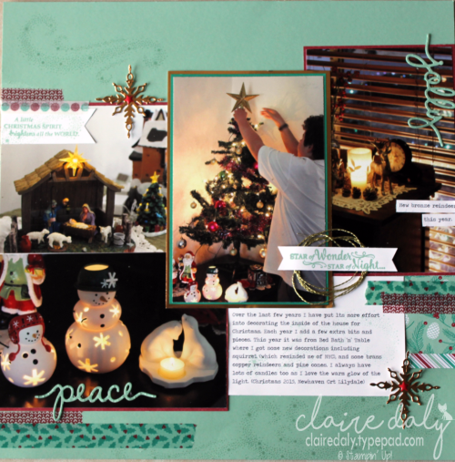Stampin Up Scrapbooking 12x12 layout using 2016 Holiday Catalogue products Star of Liht bundle, Presents and Pinecones DSP and Washi tape, Christmas Greetings thinlits. By Claire Daly Stampin Up Demonstrator Melbourne Australia.