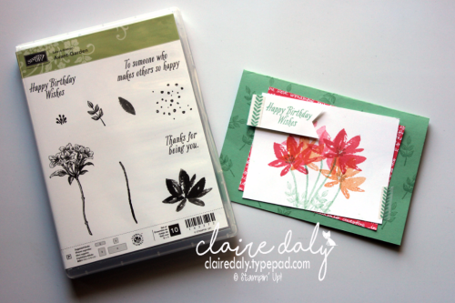 Stampin' Up! Avant Garden Saleabration 2017 birthday card in Mint Macaron, Peekaboo Peach and Flirty Flamingo. Claire Daly, Stampin Up Demonstrator Melbourne Australia.