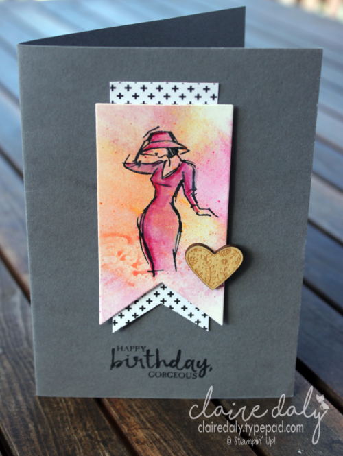 Stampin Up Beautiful You stamp set and watercolour pencils. Card by Claire Daly, Stampin Up Demonstrator Melbourne Australia