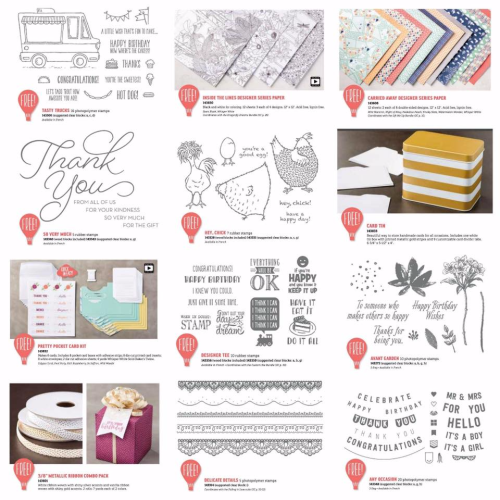 Stampin Up Sleabration items. Choose one free gift with a $90 order with me until March 31st 2017. Shop Stampin Up online.
