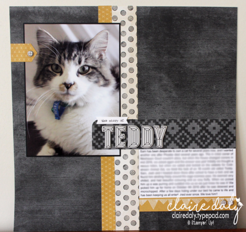 Stampin Up 12x12 scrapbooking layout using Urban Underground Designer Series Paper from Occasions 2017 Catalogue. Claire Daly Stampin Up Demonstrator Melbourne Australia.