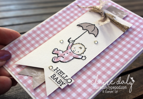 Stampin Up Moon baby  card, Occasions 2017, paper piecing technique. Claire Daly Stampin' Up! Demonstrator Melbourne Australia.