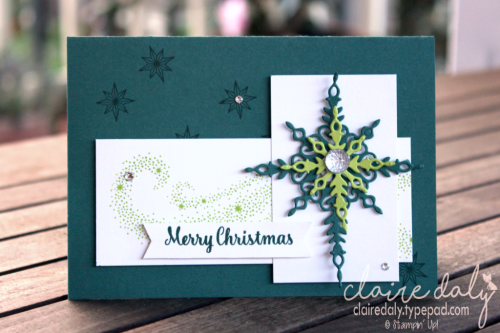 Stampin Up 2017 Christmas cards using Star of Light stamp set and Lemon Lime Twist, Tranquil Tide. Cards by Claire Daly, Stampin' Up! Demonstrator Melbourne Australia.