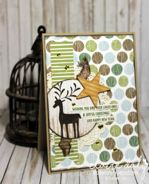 Stampin Up Merry Mistletoe 2017 Christmas card with Coffee Break DSP by Claire Daly Stampin Up Demonstrator Melbourne Australia.