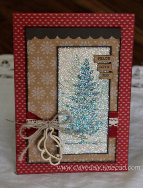 Stampin' Up! Lovely as a Tree for a Sparkly Christmas Card for Stamping and Blogging SB81 by Claire Daly Stampin Up Demonstrator Melbourne Australia
