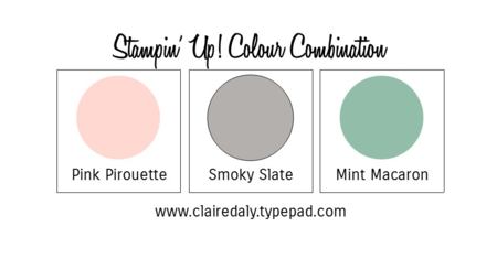 Stampin Up Colour Combination 2015 In Colors Mint Macaron, Smoky Slate, Pink Pirouette