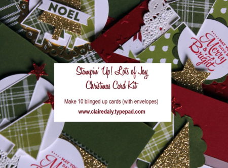 Sneak peek of one of the cards in my Stampin' Up! Lots of Joy Christmas Card Kit. Get materials (or just the PDF outside Australia) for 10 blinged up cards by Claire Daly. Click pics for details.