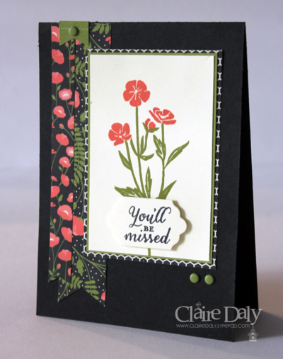 Stampin Up Retirement Card using Wild About Flowers and Pretty Petals DSP for SB116 by Claire Daly Melbourne Australia