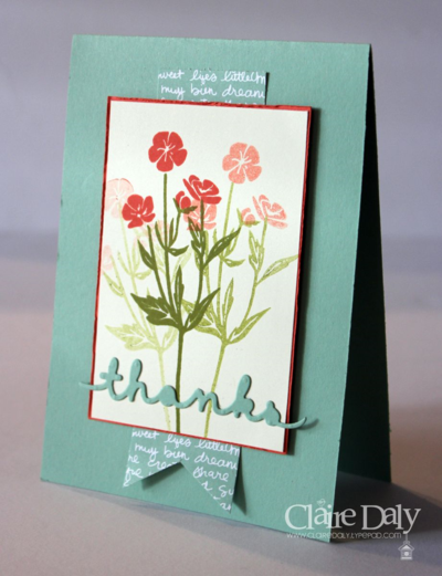 Wild About Flowers thenkyou card. Claire Daly Stampin Up Melbourne Australia