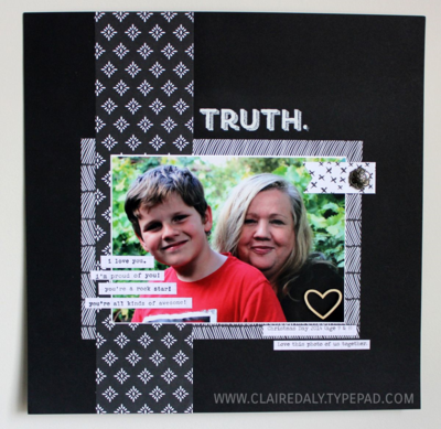 Stampin Up Scrapbook Page 2015 Claire Daly Australia. Using Words of Truth stamp set and Everyday Chic DSP.
