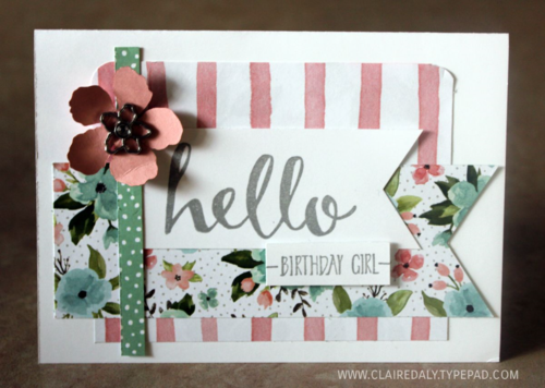 Occasions 2016, Saleabration 2016, Stampin Up. Hello stamp set,  Birthday Bouquet DSP, card by Claire Daly SU Demo Melbourne Australia.