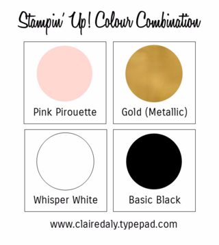 Stampin Up Colour Combination, Stampin Up Color Combination, Pink Pirouette, Gold Colour Palette, Click through for a handmade birtday card uing this colour combination by Claire Daly Melbourne Australia