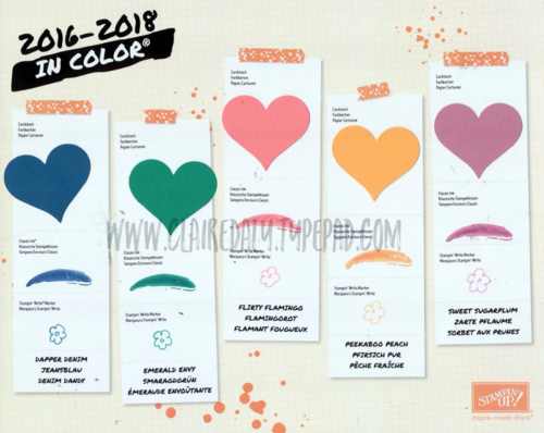 Stampin Up NEW 2016-2018 InColors / InColours.. Check them out and register for your copy of the new catalogue at www.clairedaly.typepad.com. Claire Daly Stampin' Up! Demonstrator, Melbourne Australia  #OnStage2016