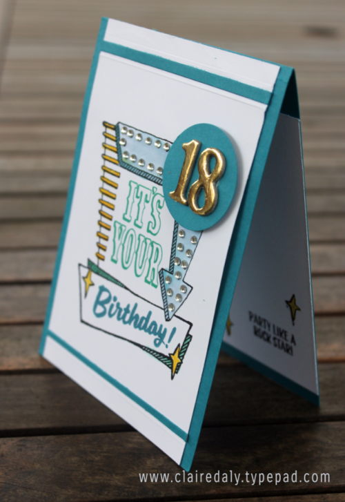 Stampin Up Marquee Messages stamp set 2016. Masculine birthday card for an 18th birthday by Claire Daly Stampin Up Melbourne Australia