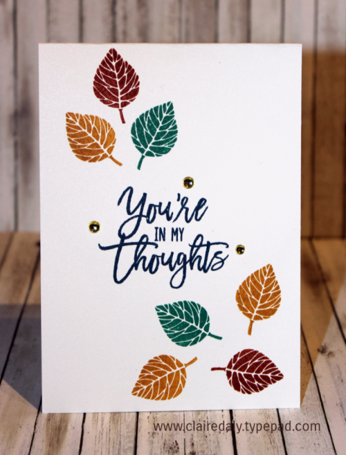 Stampin Up Thoughtful Branches Thinking of You card. Quick and easy 2016 handmade card by Claire Daly Stampin' Up! Demonstrator Melbourne Australia.
