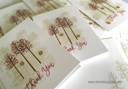 Stampin Up Thoughtful Branches quick and easy bulk thank you cards 2016 by Claire Daly Stampin' Up! Demonstrator Melbourne Australia.