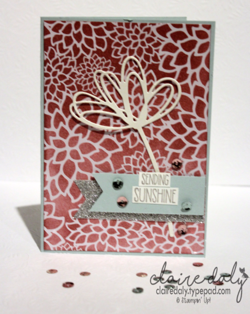 Ultimate PInk Blog Hop projects by Claire Daly Melbourne Australia. Sweet Sugarplum, Irresistibly Floral, Sunshine Sayings.