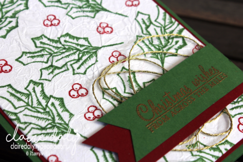 Stampin Up 2016 Christmas card using faux silk technique and Holly Berry Happiness stamp set. Card by Claire Daly, Stampin' Up! Demonstrator Melbourne Australia.