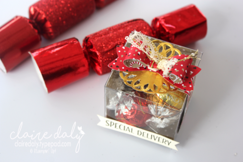 Stampin Up Clear Tiny Treat boxes using Bow Builder Punch. Fots 3 Lindt balls. By Claire Daly Stampin Up Demonstrator Melbourne Australia for Art with Heart Team Bog Hop
