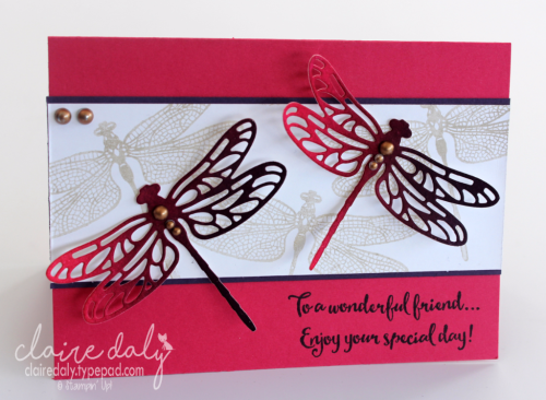 Dragonfly Dreams birthday card from Stampin Up 2017 Occasions Catalogue. Card by Claire Daly, Stampin Up Demonstrator Melbourne Australia