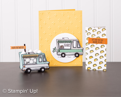 Stampin Up Saleabration 2017 Stamp Set Tasty Trucks.Get this set free with a $90 order before 31st March. .