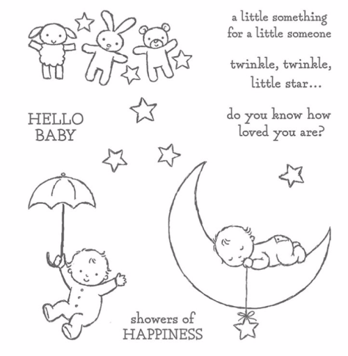 Moon Baby Stamp Set from Stampin Up - perfect for baby cards. Available in my online store.