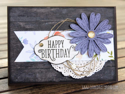 Stampin Up 2017/18 Annual Catalogue Sneak Peek Daisy Delight stamp set. Daisy Punch, Beautiful Daisy DSP, Wood Texture DSP, Pretty Label Punch, Happy Birthday Gorgeous stamp set, Faceted Gems