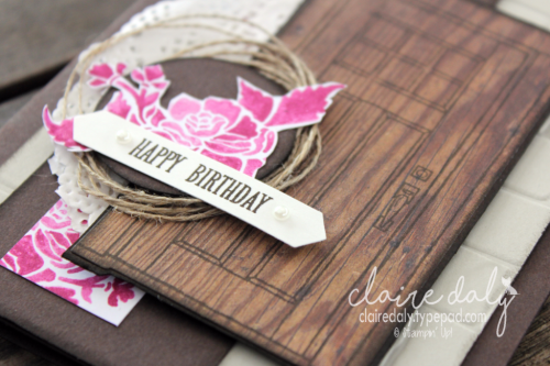 Stampin Up 2017 Annual Catalogue. At Home with You stamp set, At Home framelits, wood texture paper, brick wall embossing folder. Claire Daly, Stampin Up Demonstrator Melbourne Australia. More pictures and product recipe on my blog (click image).