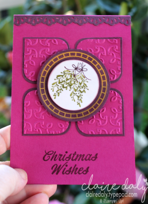 Stampin' Up! Merry Mistletoe stamp set and Garden Trellis embossing folder in a 2017 Christmas card by Claire Daly, Stampin' Up! Demonstrator Melbourne Australia.