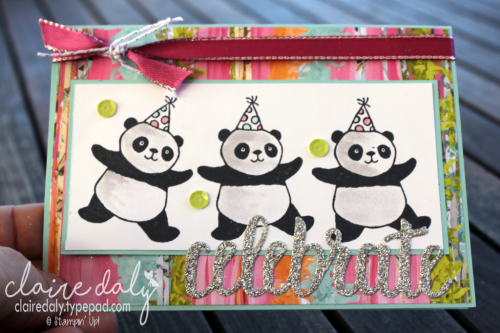 Party Pandas and Picture Perfect Party DSP card by Claire Daly, Stampin Up Demonstrator Melbourne Australia. #stampinupaustralia, #stampinupdemo #stampinupdemonstrator #saleabration2018 #occasions2018 #stampinupcards #stampinupcards2018