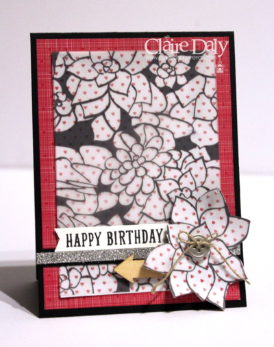 Stampin Up Sheer perfection Vellum and Stacked with Love DSP Birthday card by Claire Daly Stampin Up Demonstrator Melbourne Australia for SB 95