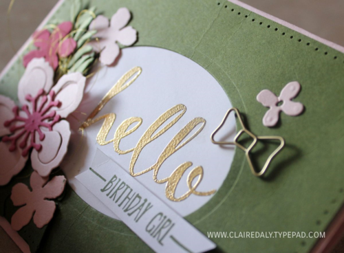 Stampin Up, Occasions 2016, Saleabration 2016, Australia, Melbourne, Hello Stamp Set, Botanical Builders Framelits, Claire Daly, Art with Heart, handmade, DIY, birthday cards, www.clairedaly.typepad.com for recipe and close ups.