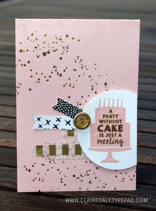 Party Wishes, Stampin Up, Occasions 2016, Gorgeous Grunge, Everyday Chic DSP, heat embosing, hand made birthday card by Claire Daly, Melbourne Australia