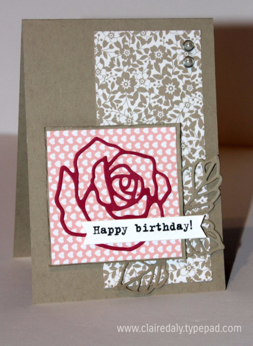 Rose Wonder / Rose Garden stamp set and thinlets by Stampin Up. Birthday card by Claire Daly SU Demo, Melbourne Australia.