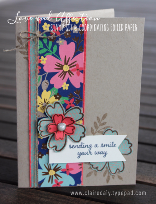 Love and Affection Stamp Set by Stampin Up using Affectionately Yours copper foiled specialty paper (products available in online store). Card by Claire Daly, Stampin' Up!  Demonstrator Melbourne Australia