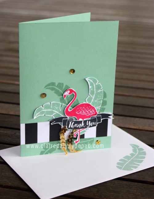 Stampin Up Pop of Paradise flamingo thankyou card using Pop of Pink Designer Series Paper. Card by Claire Daly Stampin' Up! Demonstrator Melbourne Australia.