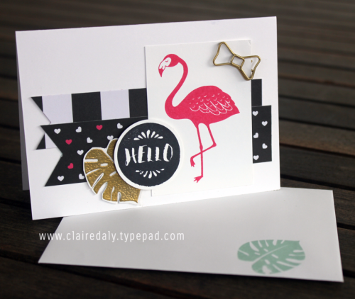 Stampin Up Pop of Paradise flamingo hello card using Pop of Pink Designer Series Paper. Card by Claire Daly Stampin' Up! Demonstrator Melbourne Australia.