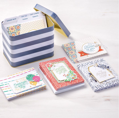 Desiner Tin of Cards project kit available in my Stampin' Up online store at www.clairedaly.stampinup.net